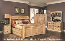 AAmerica AHINT5071Q6P Amish Highlands 6-Piece Bedroom Set with Arch Panel Queen Storage Bed  Chest  Dresser  Mirror and Two Nightstands