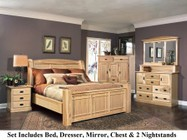 AAmerica AHINT5070Q6P Amish Highlands 6-Piece Bedroom Set with Arch Panel Queen Bed  Chest  Dresser  Mirror and Two Nightstands