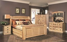 AAmerica AHINT5071Q5P Amish Highlands 5-Piece Bedroom Set with Arch Panel Queen Storage Bed  Chest  Dresser  Mirror and Single Nightstand