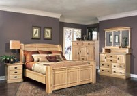 AAmerica AHINT5070Q5P Amish Highlands 5-Piece Bedroom Set with Arch Panel Queen Bed  Chest  Dresser  Mirror and Single Nightstand