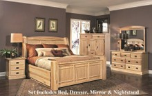 AAmerica AHINT5071Q4P Amish Highlands 4-Piece Bedroom Set with Arch Panel Queen Storage Bed  Dresser  Mirror and Single Nightstand