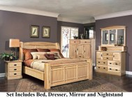 AAmerica AHINT5070Q4P Amish Highlands 4-Piece Bedroom Set with Arch Panel Queen Bed  Dresser  Mirror and Single Nightstand