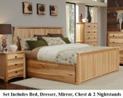 AAmerica ADANT5171K6P Adamstown 6 Piece Bedroom Set with King Sized Storage Bed  Chest  Dresser  Mirrror and Two Nightstands