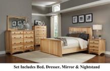 AAmerica ADANT5070KIT Adamstown 4 Piece Bedroom Set with Queen Sized Panel Bed  Dresser  Mirrror  and Nightstand