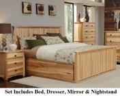 AAmerica ADANT5071KIT Adamstown 4 Piece Bedroom Set with Queen Sized Storage Bed  Dresser  Mirrror  and Nightstand