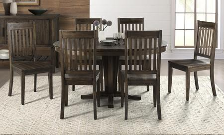 aamerica huron collection hurwrpt6ssc 7 piece dining room set with pedestal table and 6x. Black Bedroom Furniture Sets. Home Design Ideas