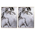 A and B Home DF43495-DS White Marbled Panel Wall Arts (Set Of 2) In White