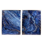 A and B Home DF43494-DS (Set Of 2) Marbled Panel Wall Arts in Blue