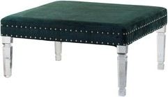 "A and B Home 43597 36"" Square Upholstered Bench with Acrylic Legs and Nail-Head Accents in Green"
