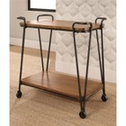 Abbyson Living Khloe Wood and Iron 2 Tier Rolling Cart in Natural