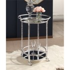 Abbyson Living Joey Cylinder Bar Cart in Silver