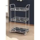 Abbyson Living Jasper 3 Tier Bar Cart in Silver