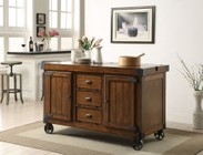 "Acme Furniture Kabili Collection 98186 57"" Kitchen Cart with 3 Drawers  2 Doors  2 Shelves  Oversized Caster Wheels  Poplar Wood and Qiu Wood Veneer Materials in Antique Tobacco Finish"