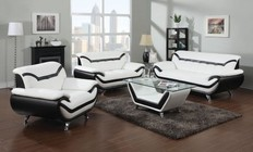 Acme Furniture Rozene Collection 51155SLCT 4 PC Living Room Set with Sofa + Loveseat + Armchair + Coffee Table in Black and White Color