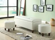 Acme Furniture 96027 Ibrahim 3Pc Pk Storage Bench & 2 Ottomans  Ivory PU & Espresso