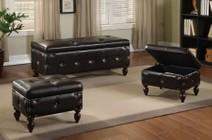 Acme Furniture 96023 Ibrahim 3Pc Pk Storage Bench & 2 Ottomans  Brown PU & Espresso