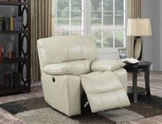 Acme Furniture 59342 Kimberly Recliner (Power Motion)  Cream Leather-Aire