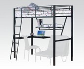 Acme Furniture 37275 Senon Loft Bed w/Desk  Silver & Black