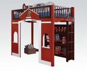 Acme Furniture 37085 Fola Loft Bed & Bookcase  Red and White & Espresso