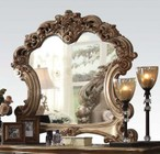 Acme Furniture 23004 Vendome Beveled Mirror with Decorative Accents and Elaborate Wood Carving Details in Gold Patina Finish