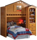 Acme Furniture 10160BC Tree House 2 PC Loft Bed + Bookcase Cabinet in Rustic Oak Finish