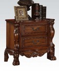 Acme Furniture 12143 Dresden Nightstand with 2 Drawers  Solid Chinese Wood Construction  Antique Brass Hardware  Ball and Claw Feet in Cherry Oak Finish