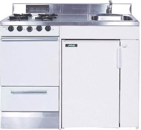 Acme ROG10Y48 Full Feature Kitchenettes Compact Kitchen With Stainless  Steel Countertop 4 Gas Burners Oven Sink ...