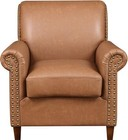 Accentrics Home DS-D030004-460 Traditional Roll Arm Accent Chair with Tapered Solid Wood Legs  Nail Head Application and Rolled Arm in Darren Cognac