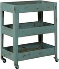 Accentrics Home DS-D051010 Distressed Mesh Shelf Metal Trolley Cart with Casters  Iron Construction and Three Mesh Bottom Shelves in Blue
