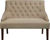 Accentrics Home DS-2260-400-497 Button Tufted Upholstered Settee with Low Profile Arms  Brushed Nickel Nail Head and Solid Wood Legs in Fresh Dune