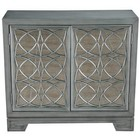 Accentrics Home DSD153063 Modern Style Hand Burnished Silver With Blue Undertone Two Door Accent Bar Cabinet In