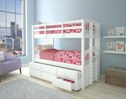 Acme Furniture Micah Collection 39995 Twin Over Twin Size Bunk Bed with 4 Casters  3 Drawers  Trundle  Reversible Side Ladder  Full Length Guard Rail and Pine Wood Construction in White Finish