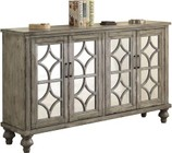 "Acme Furniture Velika Collection 90280 60"" Console Table with 4 Mirrored Doors  Diamond Trim Inlay  Bun Turned Legs  Metal Hardware and Wood Veneer Materials in Weathered Grey Finish"