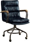 "Acme Furniture Harith Collection 92417 22"" Executive Office Chair with High Back  4-Star Base  Swivel Seat  Casters  Wooden Armrest  Iron Metal Frame and Channel-Seamed Top Grain Leather Upholstery in Vintage Blue Color"