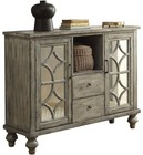 "Acme Furniture Velika Collection 90282 48"" Console Table with 2 Mirrored Doors  2 Drawers  1 Open Compartment  Diamond Trim Inlay  Turned Legs and Willow Veneer Materials in Weathered Grey Finish"