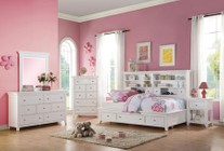 Acme Furniture Lacey Collection 30590TSET 5 PC Bedroom Set with Twin Size Daybed + Dresser + Mirror + Chest + Nightstand in White Finish
