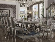 Acme Furniture Versailles Collection 66830SET 11 PC Dining Room Set with Dining Table + 2 Arm Chairs + 8 Side Chairs in Antique Platinum Finish