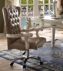 "Acme Furniture Versailles Collection 92277 19"" Executive Chair with Adjustable Height  Swivel Function  Casters  Nail Head Trim  Wingback Backrest  PU Leather Upholstery and Wood Veneer Materials in Vintage Grey and Bone White Finish"