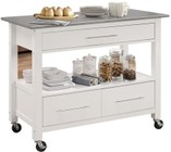"""Acme Furniture Ottawa Collection 98330 43"""" Kitchen Cart with 3 Drawers  1 Shelf  Stainless Steel Top  Casters  Towel Bar  Medium-Density Fiberboard (MDF) and Rubberwood Construction in White Finish"""