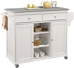 Acme Furniture 98307 Tullarick Collection Kitchen Cart In Stainless Steel & White
