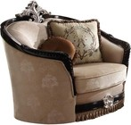 Acme Furniture 52112 Ernestine Collection Chair With 2 Pillow In Tan Fabric & Black Pillow