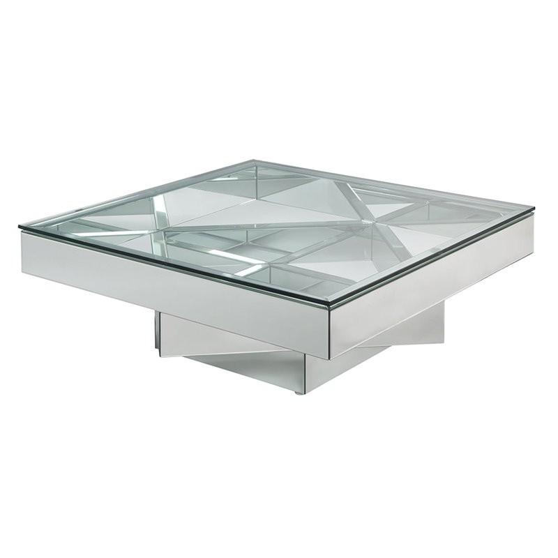 "ACME Meria 40"" Square Glass Top Mirrored Coffee Table"