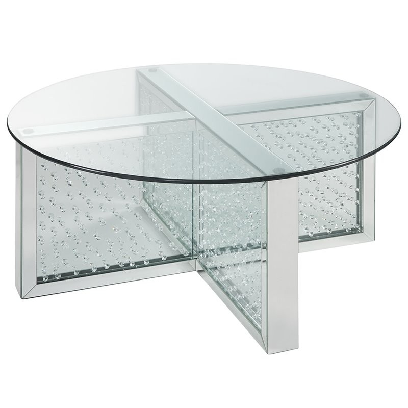 "ACME Nysa 40"" Round Glass Top Mirrored Coffee Table"
