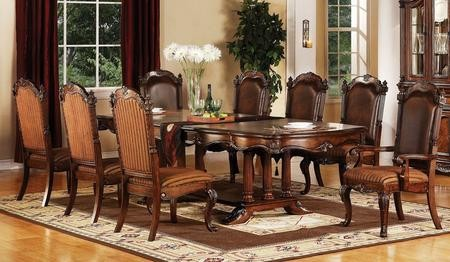 Acme Furniture Remington Collection 60030CH 9 PC Dining Room Set With Dining  Table + 6 Side ...