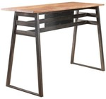 """Acme Furniture Scarus Collection 59"""" Bar Table with Sled Legs  Crossbars Supports  Solid Pine Wood Fixed Top and Powder Coating Metal Frame in Natural and Gunmetal Finish"""