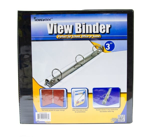 """A+ Homework Wholesale 3"""" Clear View Binder With Two Inside"""
