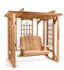 All Things Cedar PO72s Assembled Cedar Pergola Swing Set