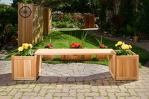 All Things Cedar PLB60U3P 3 piece Planter with Bench  Consists of Two 20