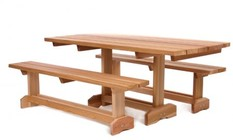 All Things Cedar MT70U-3 3 pc. Market Table For 8 People With Clear Grade Western Red Cedar  Resistant Zinc Plated and/or Brass Hardware & Finely Sanded Finish