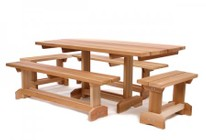 All Things Cedar MT70U-5 5 pc. Market Table For 10 People With 2 MB70U  2 MB30U & 1 Table